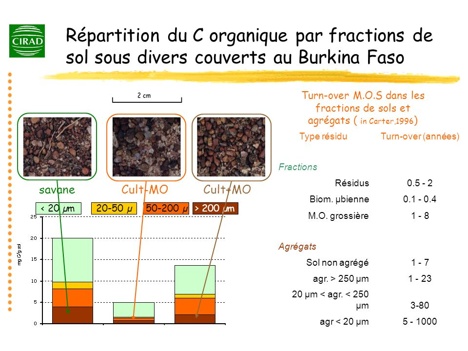 Répartition du C organique par fractions de sol sous divers couverts au Burkina Faso