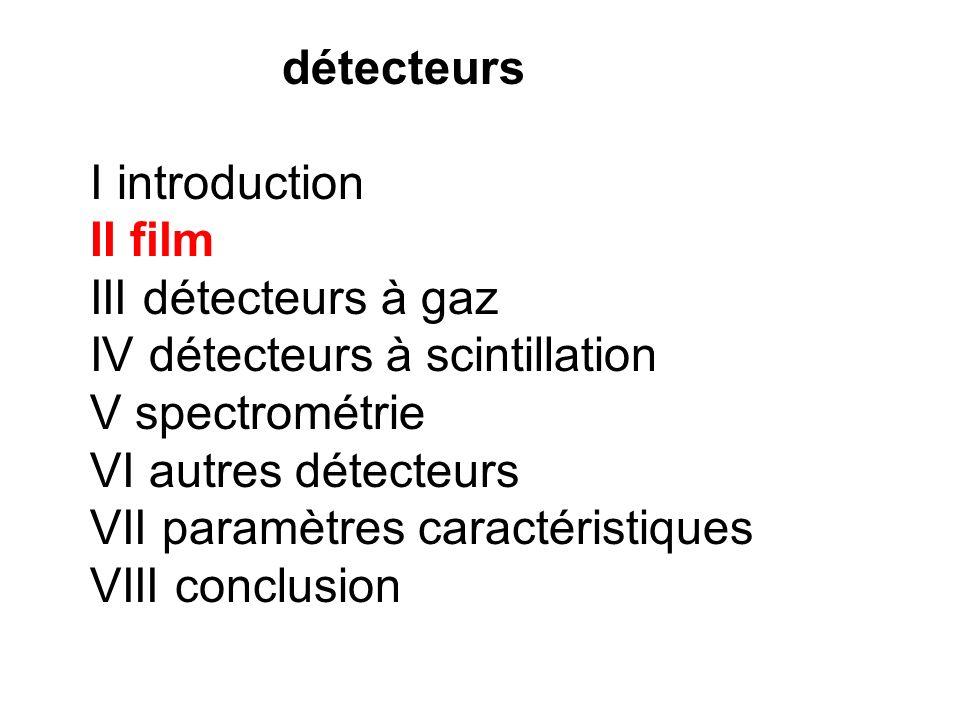 détecteurs I introduction. II film. III détecteurs à gaz. IV détecteurs à scintillation. V spectrométrie.