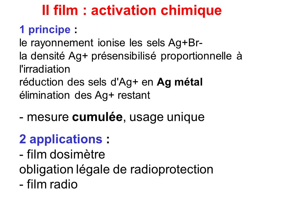 II film : activation chimique