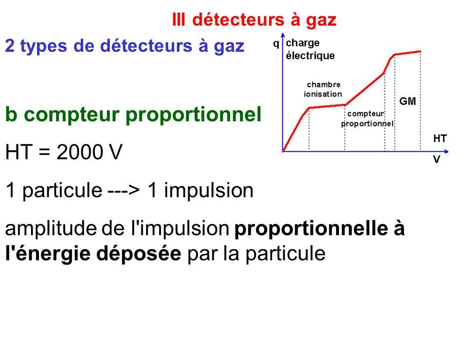 III détecteurs à gaz b compteur proportionnel HT = 2000 V