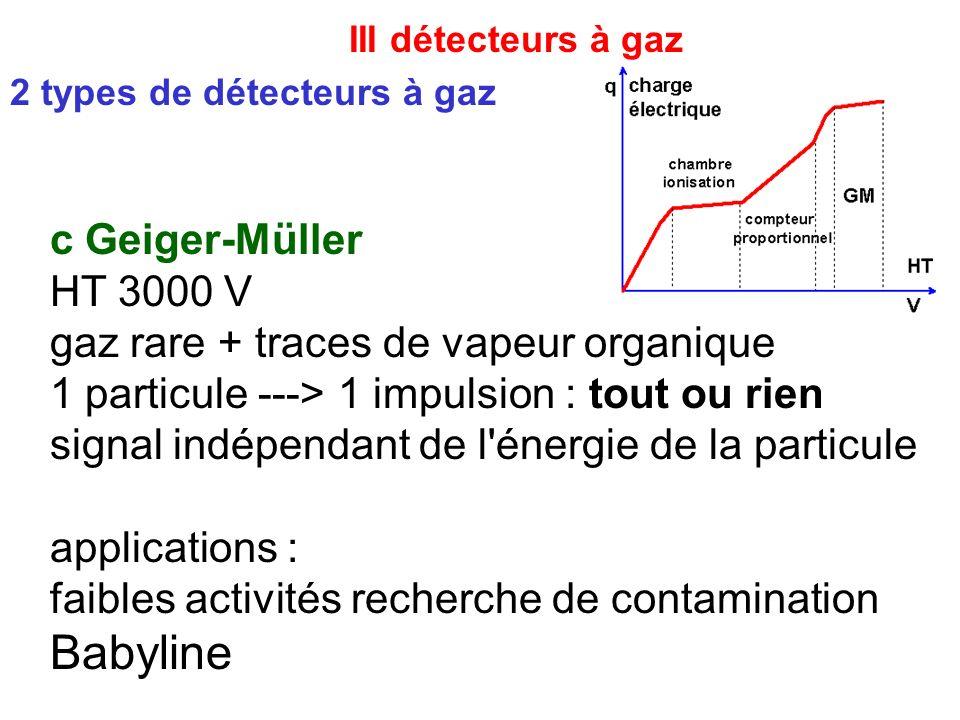 III détecteurs à gaz Babyline c Geiger-Müller HT 3000 V