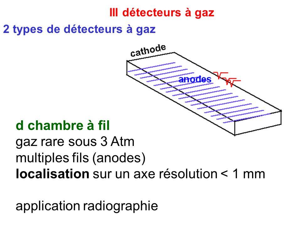 III détecteurs à gaz d chambre à fil gaz rare sous 3 Atm