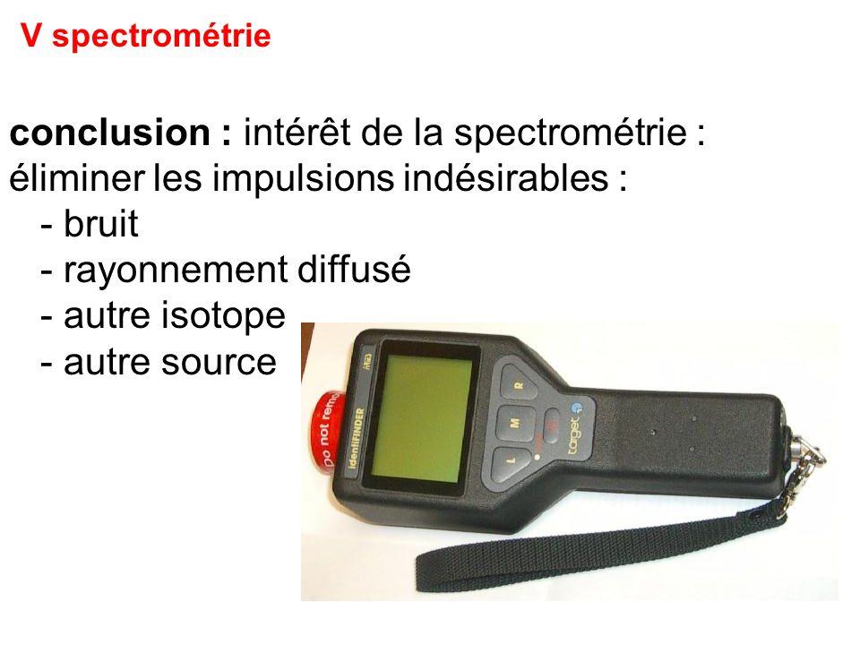 V spectrométrie conclusion : intérêt de la spectrométrie :