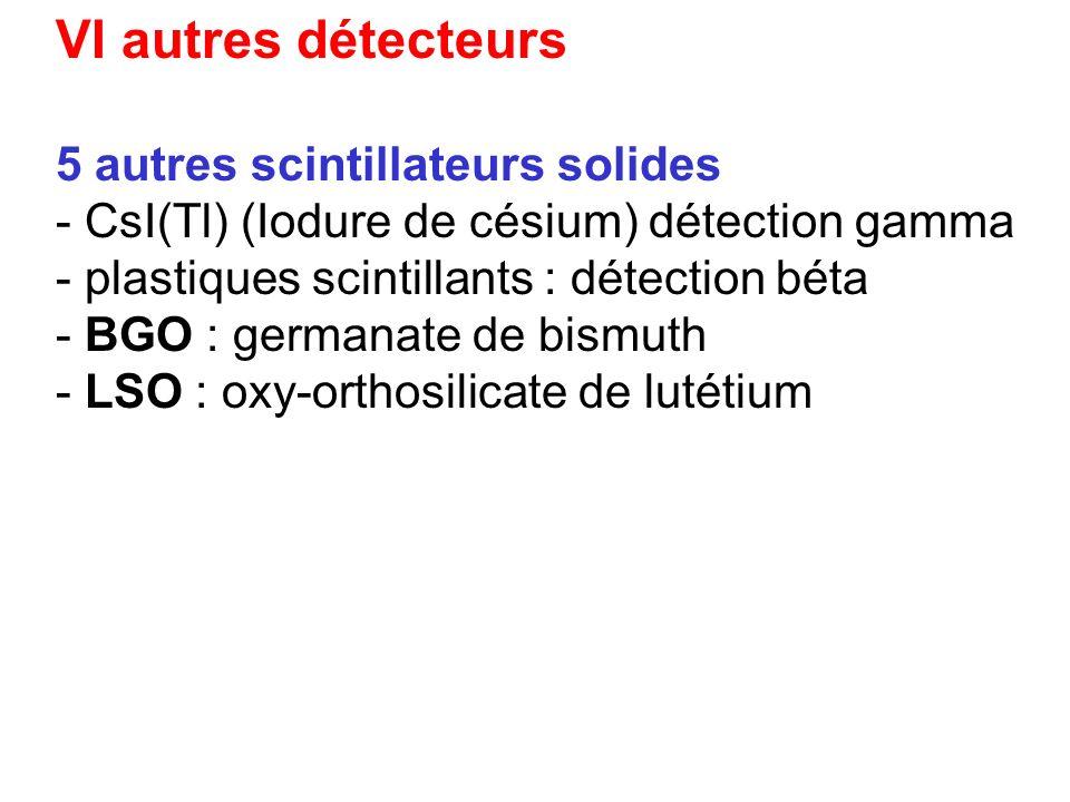 VI autres détecteurs 5 autres scintillateurs solides