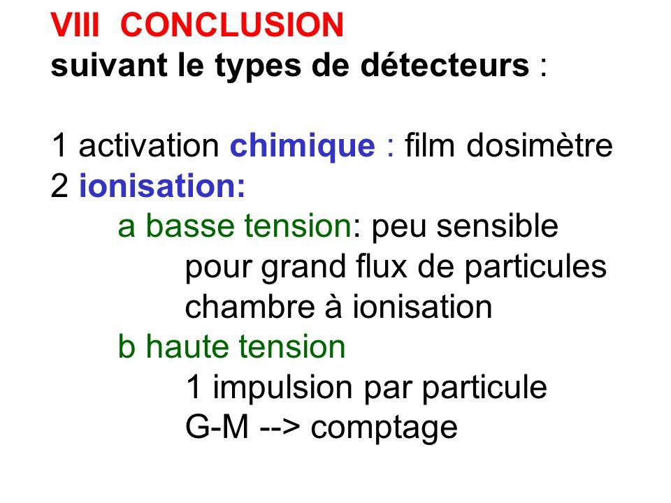 VIII CONCLUSION suivant le types de détecteurs : 1 activation chimique : film dosimètre. 2 ionisation: