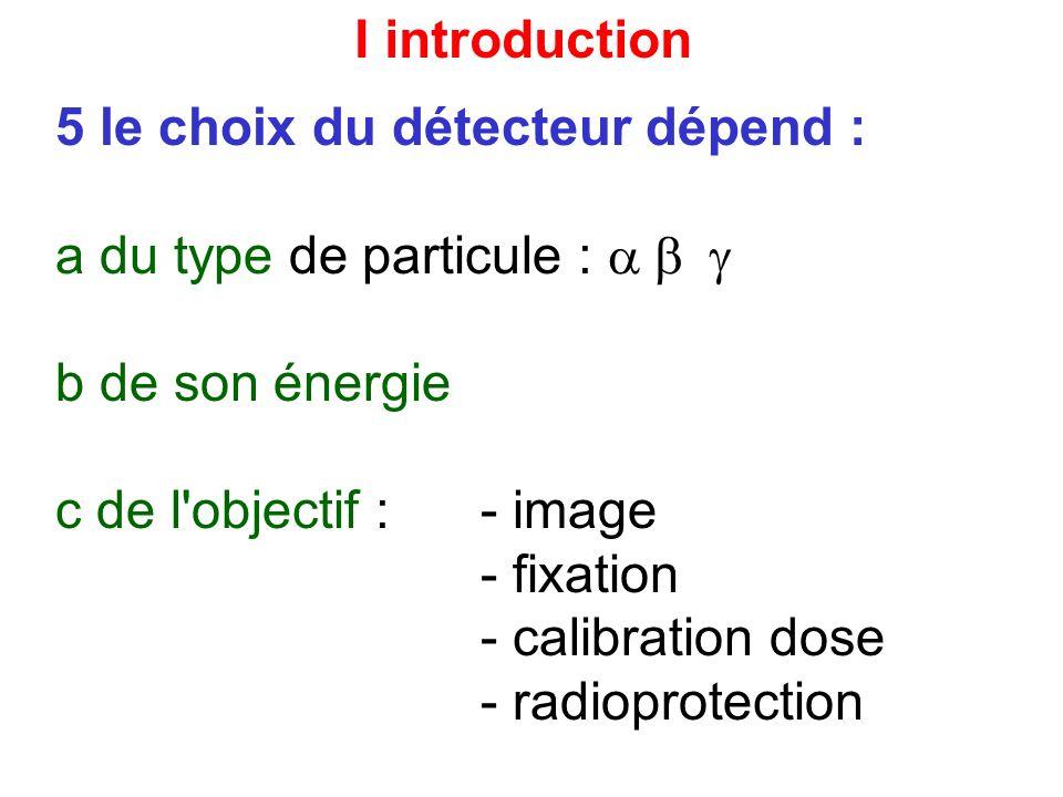 I introduction 5 le choix du détecteur dépend : a du type de particule : a b g. b de son énergie.