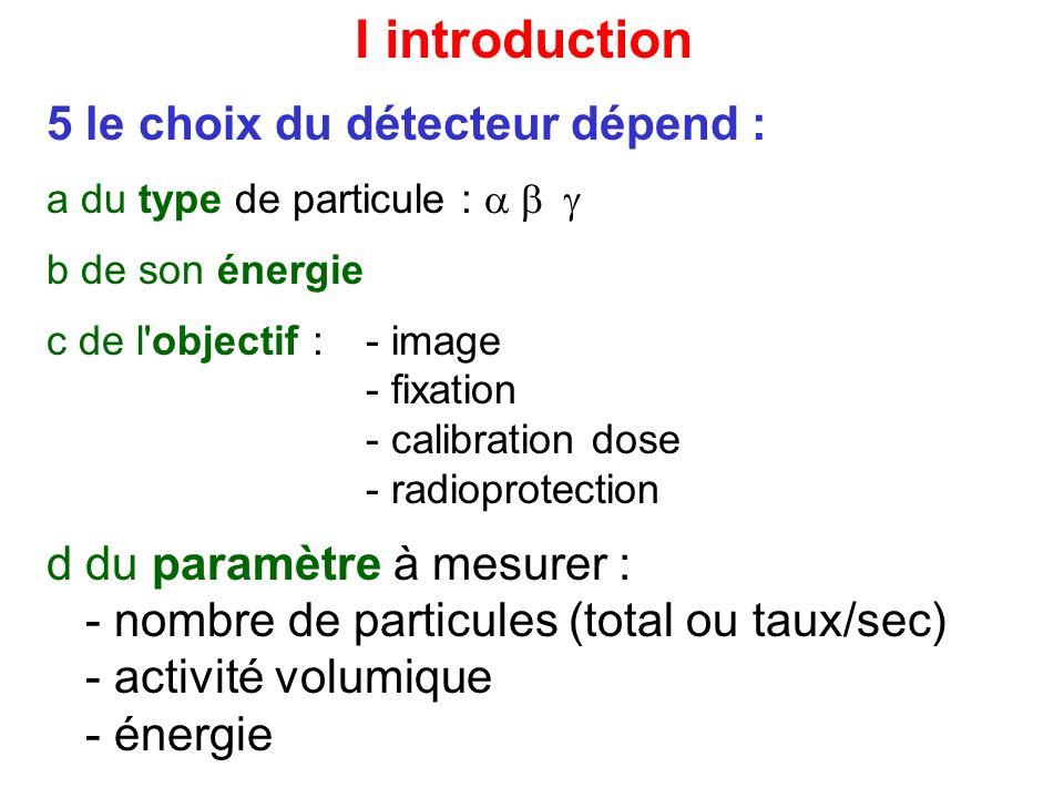 I introduction 5 le choix du détecteur dépend :