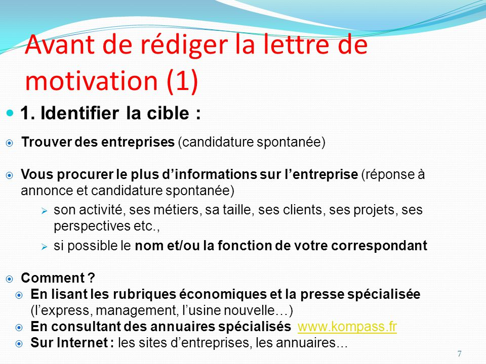 Avant de rédiger la lettre de motivation (1)