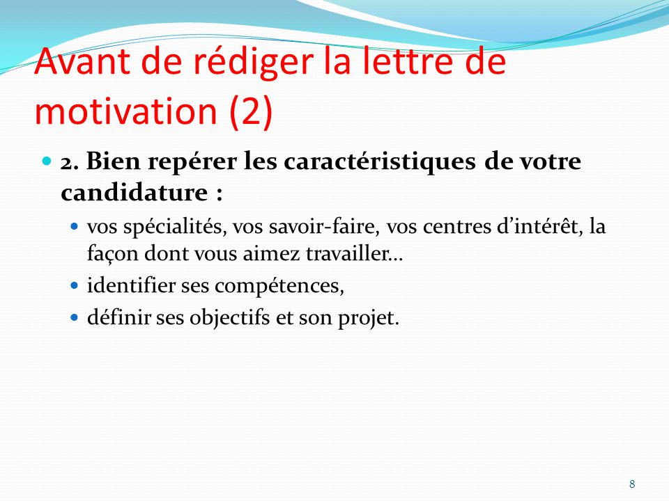 Avant de rédiger la lettre de motivation (2)