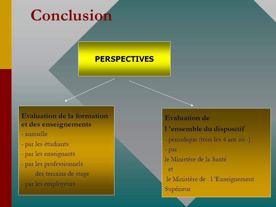 Conclusion PERSPECTIVES Evaluation de la formation Evaluation de