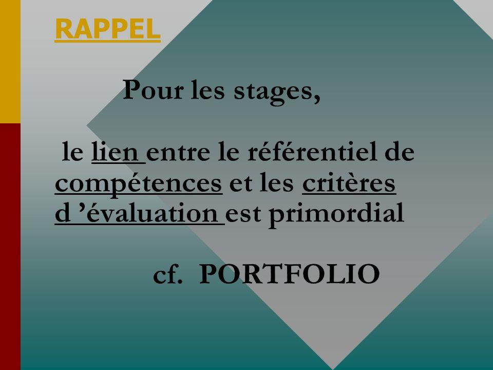 RAPPEL Pour les stages, le lien entre le référentiel de compétences et les critères d 'évaluation est primordial cf.