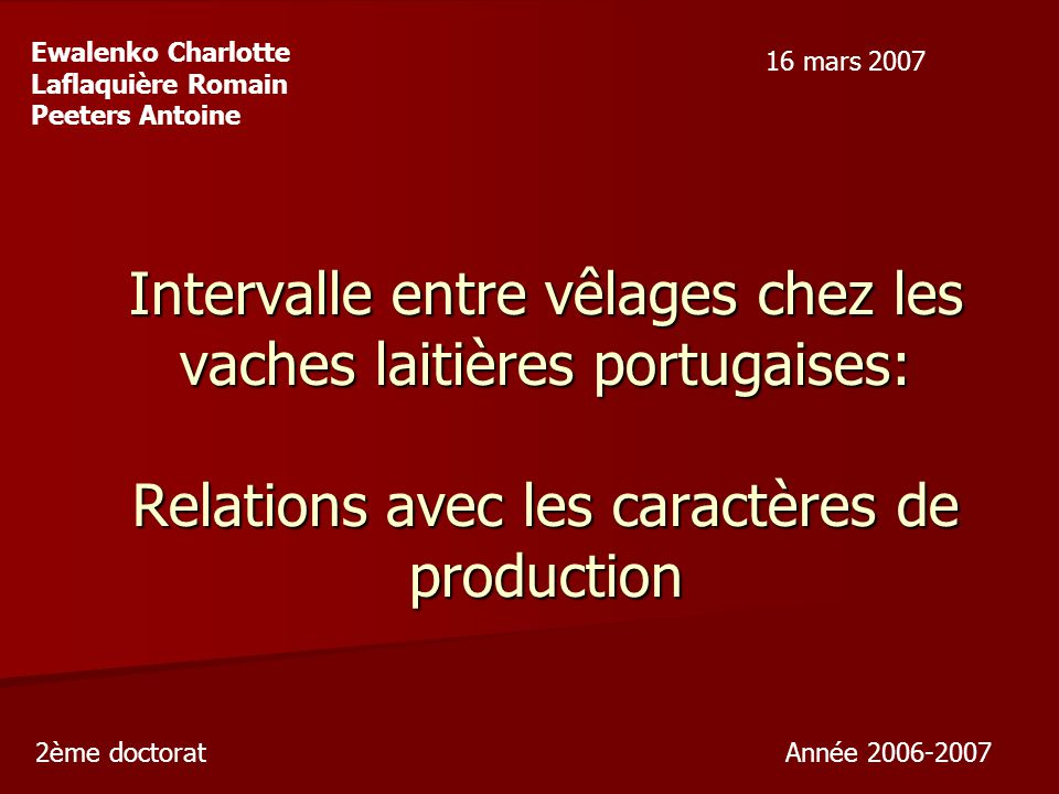 Ewalenko Charlotte Laflaquière Romain. Peeters Antoine. 16 mars 2007.