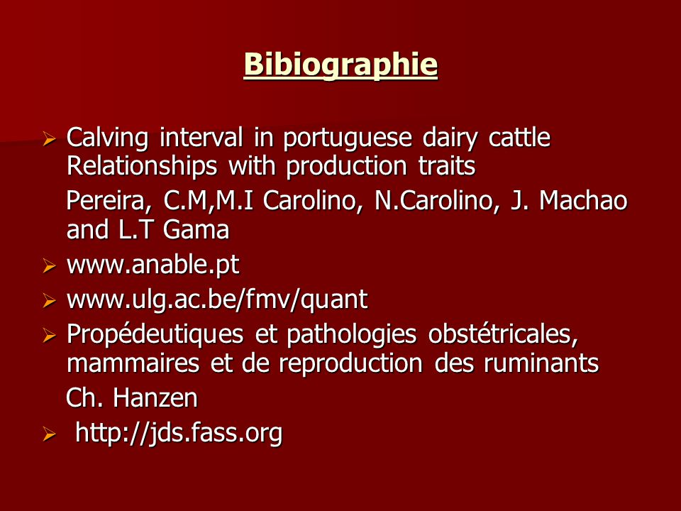 Bibiographie Calving interval in portuguese dairy cattle Relationships with production traits.