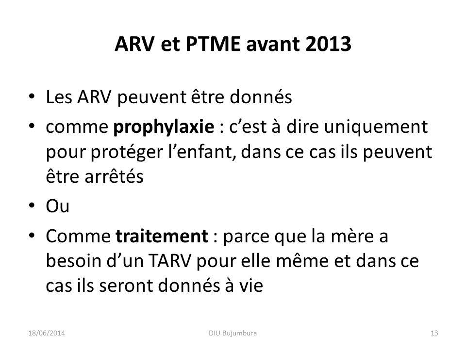 ARV et PTME avant 2013 Les ARV peuvent être donnés
