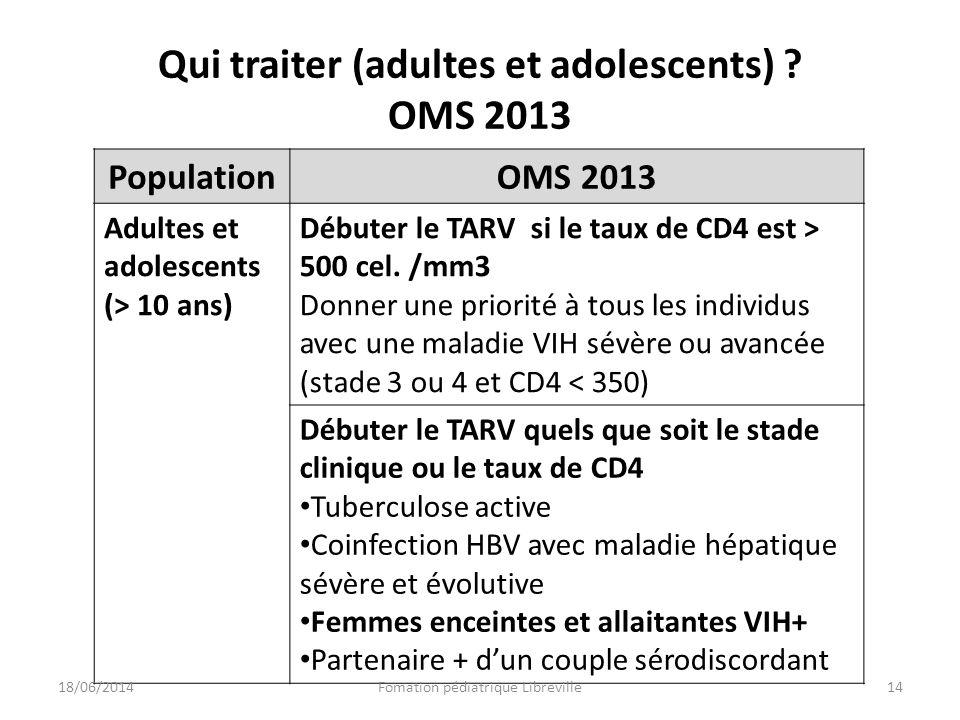 Qui traiter (adultes et adolescents) OMS 2013