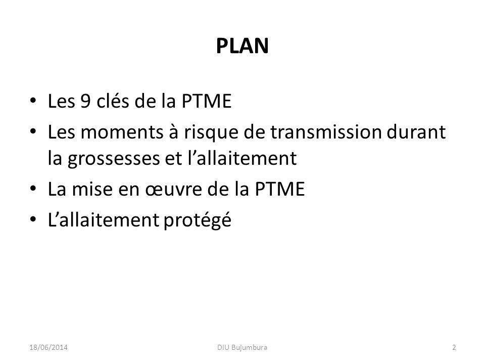 PLAN Les 9 clés de la PTME. Les moments à risque de transmission durant la grossesses et l'allaitement.