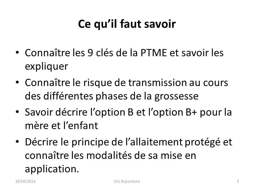 Ce qu'il faut savoir Connaître les 9 clés de la PTME et savoir les expliquer.