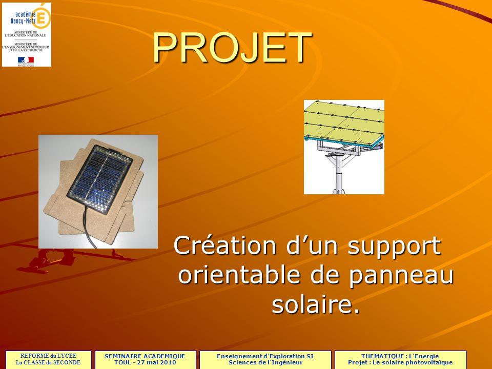 Création d'un support orientable de panneau solaire.