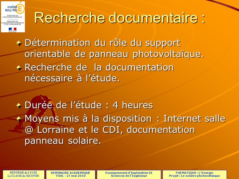 Recherche documentaire :