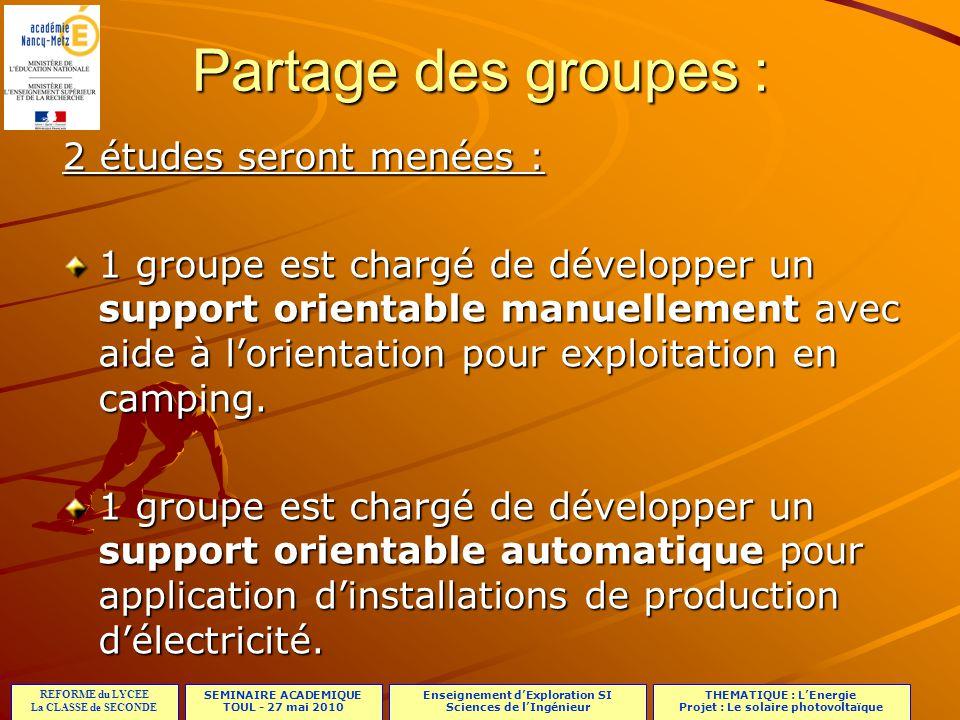 Partage des groupes : 2 études seront menées :