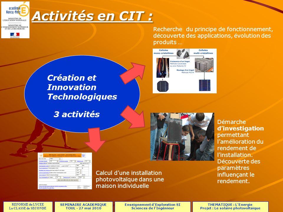 Activités en CIT : Création et Innovation Technologiques 3 activités