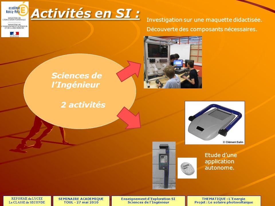 Activités en SI : Sciences de l'Ingénieur 2 activités
