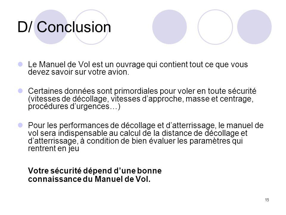 D/ Conclusion Le Manuel de Vol est un ouvrage qui contient tout ce que vous devez savoir sur votre avion.
