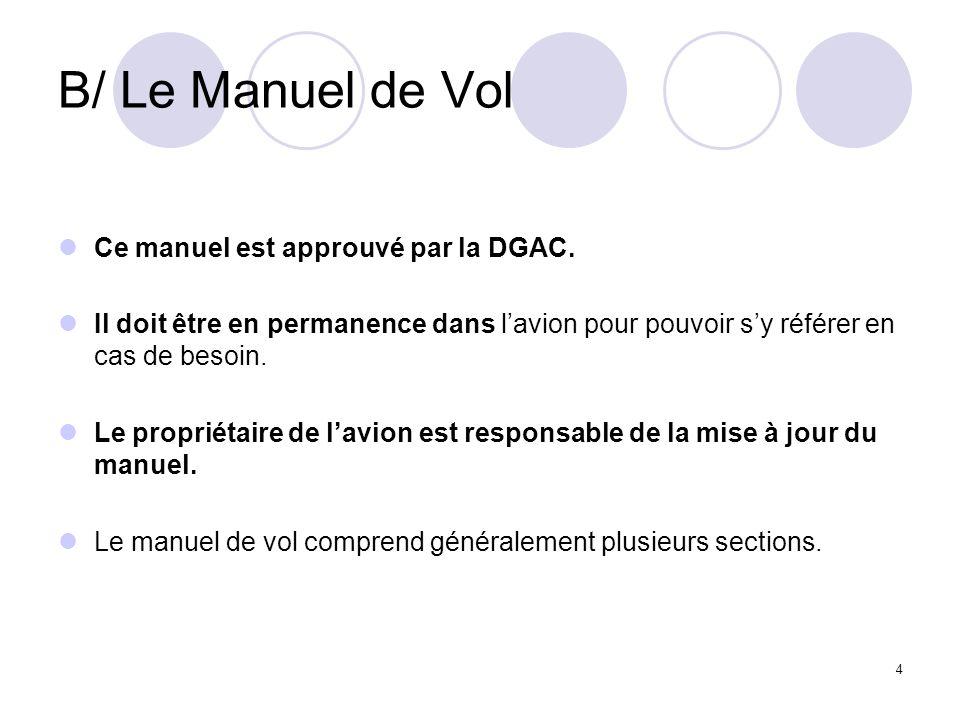 B/ Le Manuel de Vol Ce manuel est approuvé par la DGAC.
