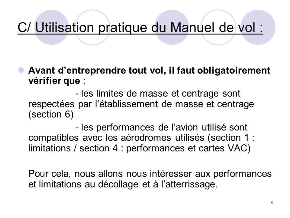 C/ Utilisation pratique du Manuel de vol :