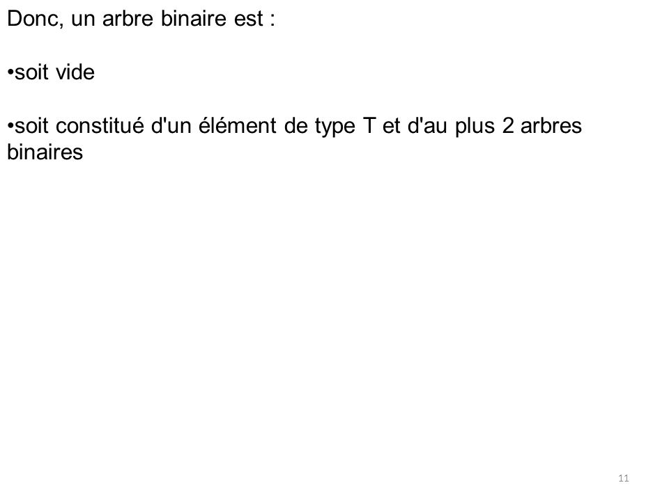 Donc, un arbre binaire est :