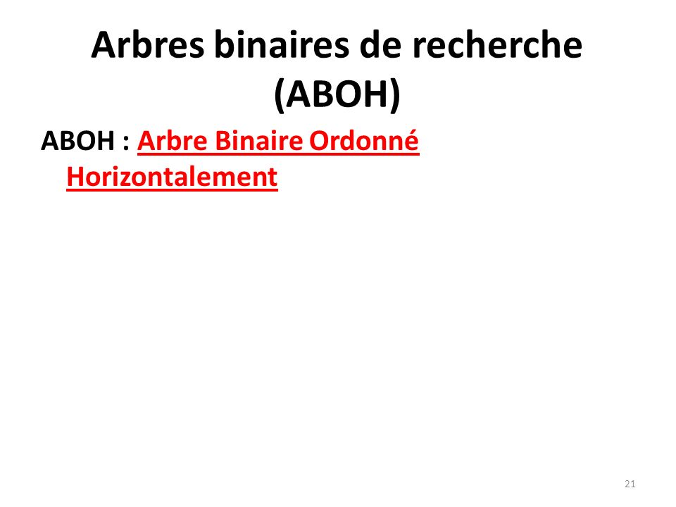 Arbres binaires de recherche (ABOH)