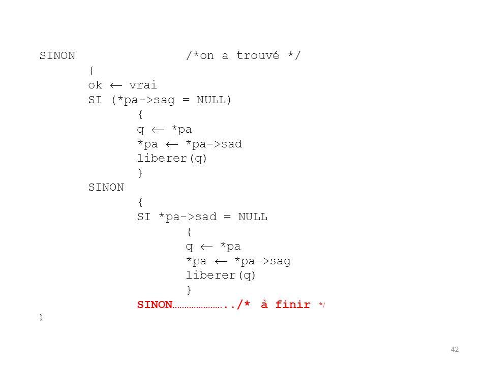 SINON /*on a trouvé */{ ok  vrai. SI (*pa->sag = NULL) q  *pa. *pa  *pa->sad. liberer(q) } SINON.