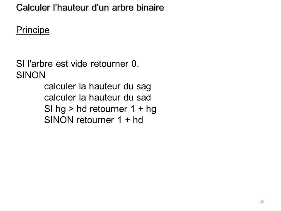 Calculer l'hauteur d'un arbre binaire