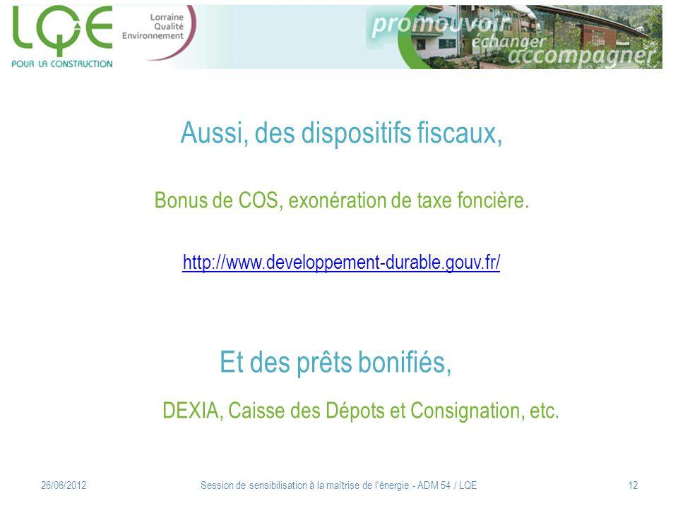 Aussi, des dispositifs fiscaux, Bonus de COS, exonération de taxe foncière. http://www.developpement-durable.gouv.fr/