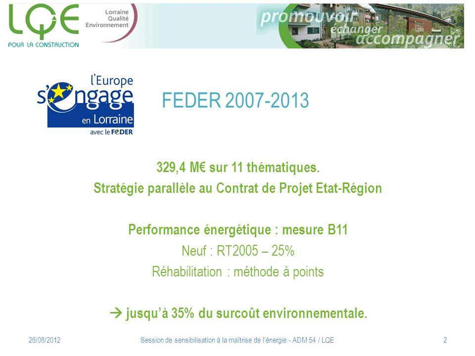 FEDER 2007-2013 329,4 M€ sur 11 thématiques.