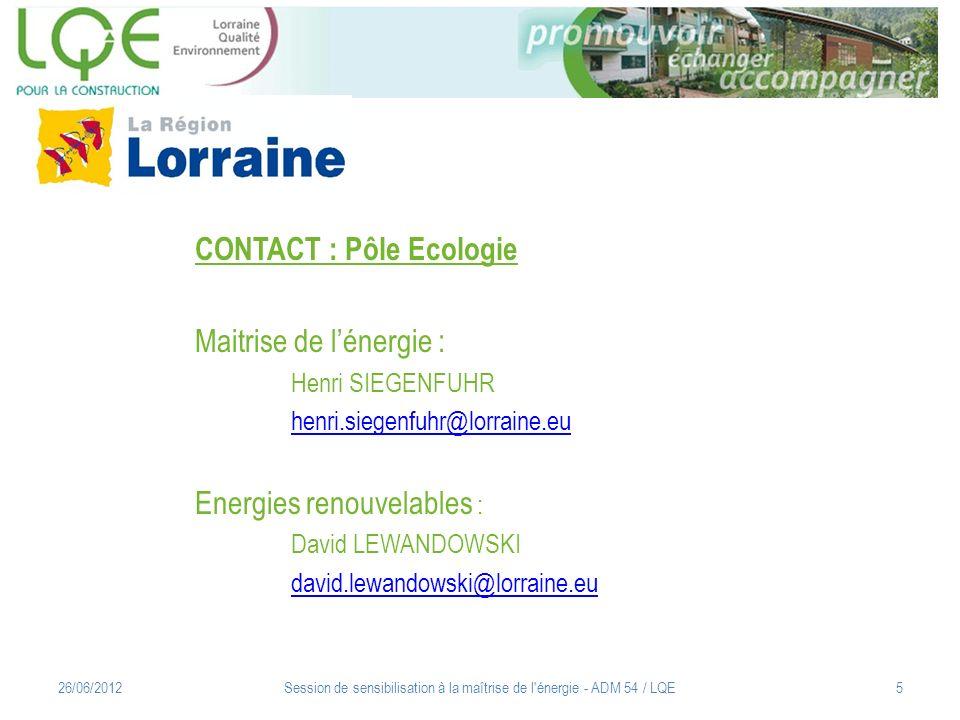 Session de sensibilisation à la maîtrise de l énergie - ADM 54 / LQE