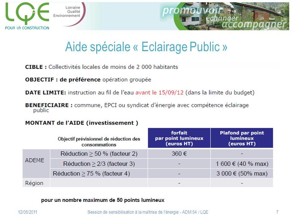 Aide spéciale « Eclairage Public »