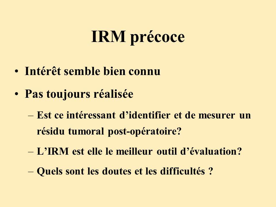 IRM précoce Intérêt semble bien connu Pas toujours réalisée