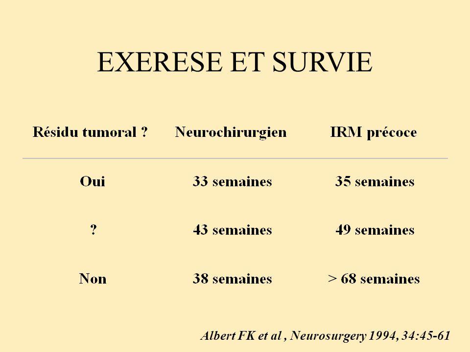 EXERESE ET SURVIE Albert FK et al , Neurosurgery 1994, 34:45-61