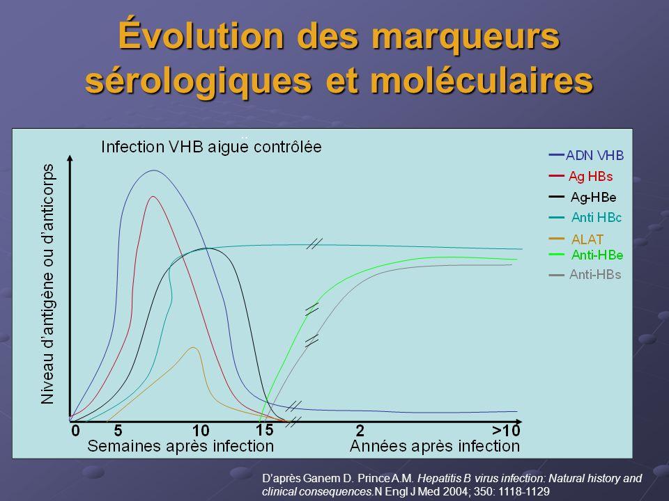Évolution des marqueurs sérologiques et moléculaires