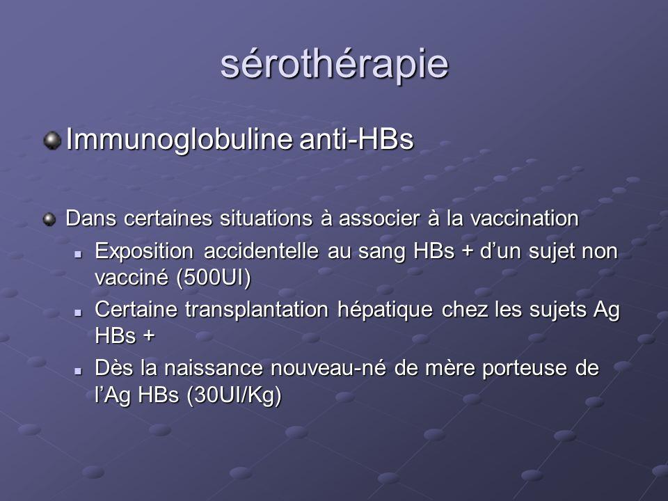 sérothérapie Immunoglobuline anti-HBs