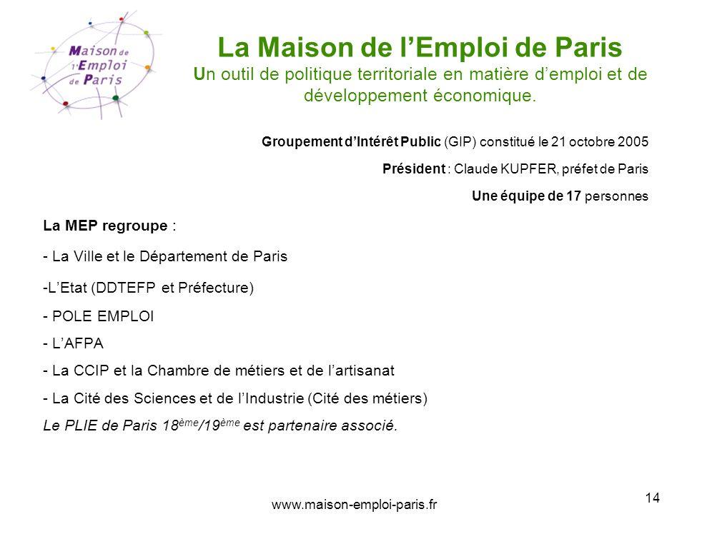 La Maison de l'Emploi de Paris Un outil de politique territoriale en matière d'emploi et de développement économique.