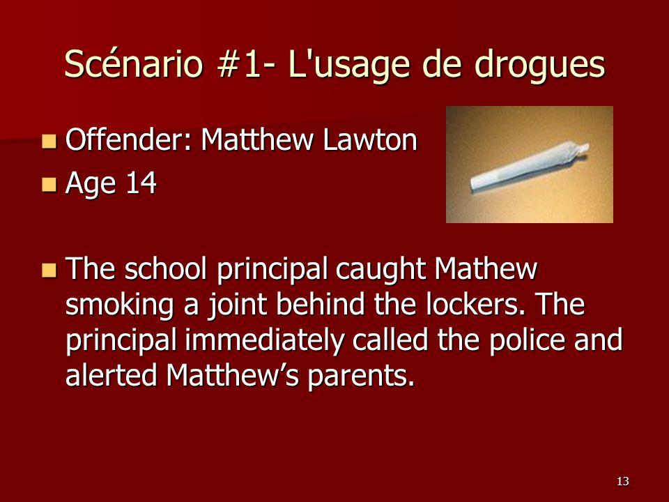 Scénario #1- L usage de drogues
