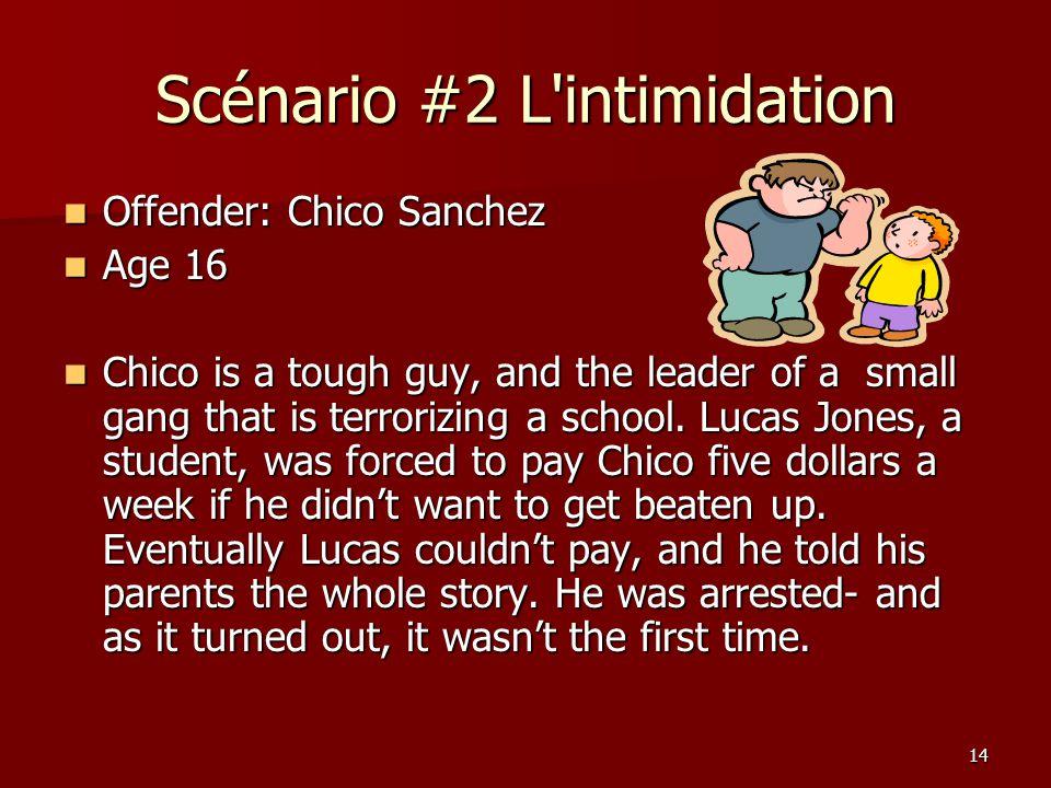 Scénario #2 L intimidation