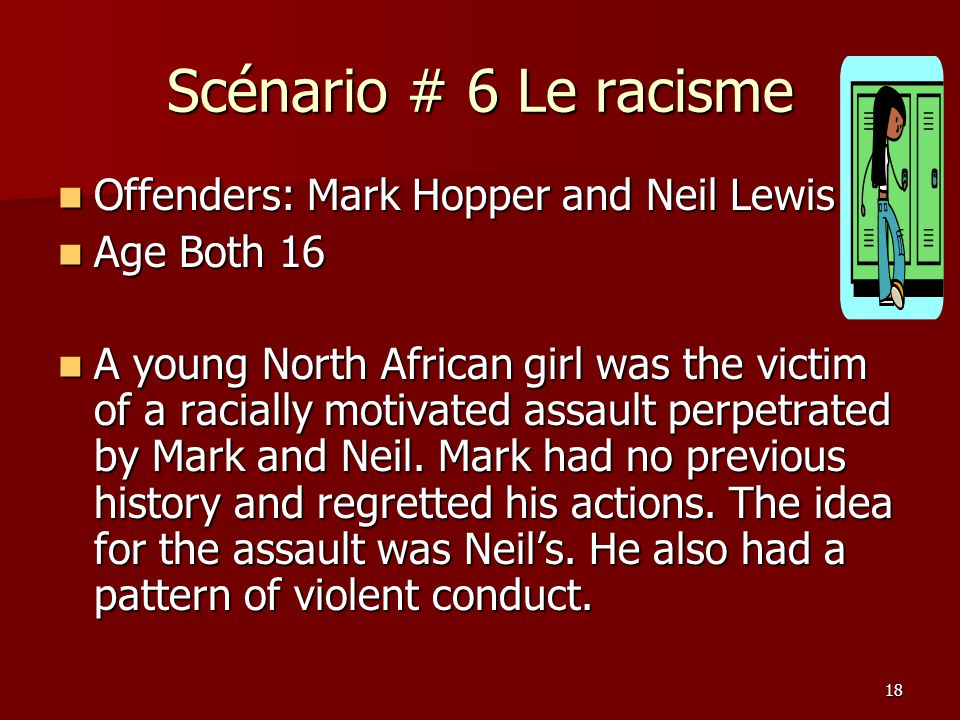 Scénario # 6 Le racisme Offenders: Mark Hopper and Neil Lewis