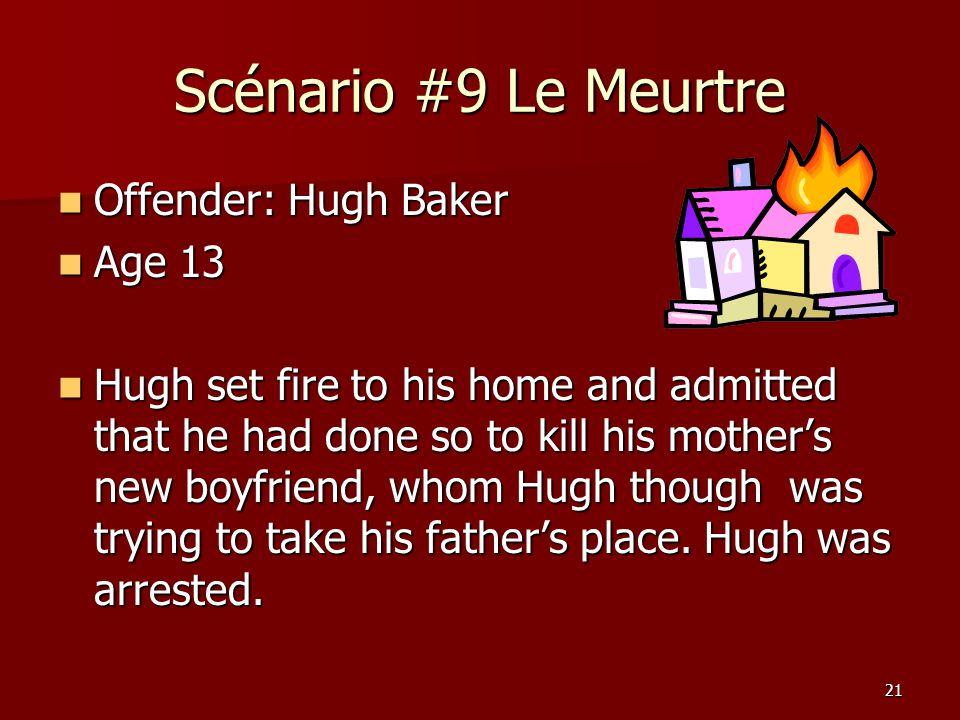 Scénario #9 Le Meurtre Offender: Hugh Baker Age 13
