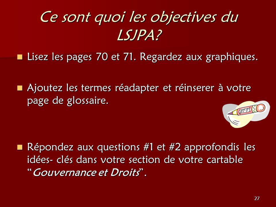 Ce sont quoi les objectives du LSJPA