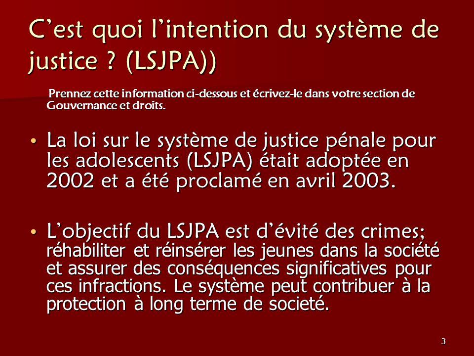 C'est quoi l'intention du système de justice (LSJPA))