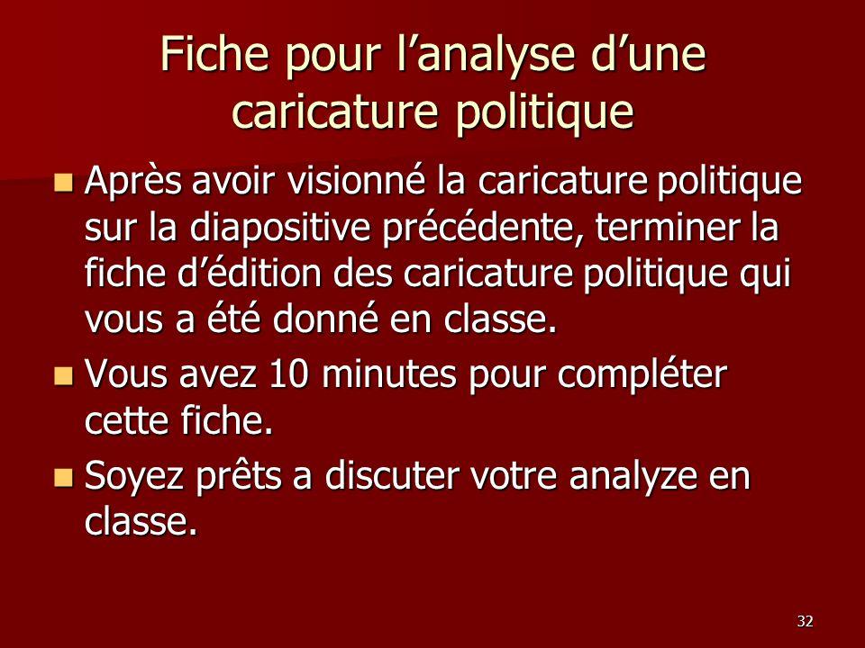 Fiche pour l'analyse d'une caricature politique