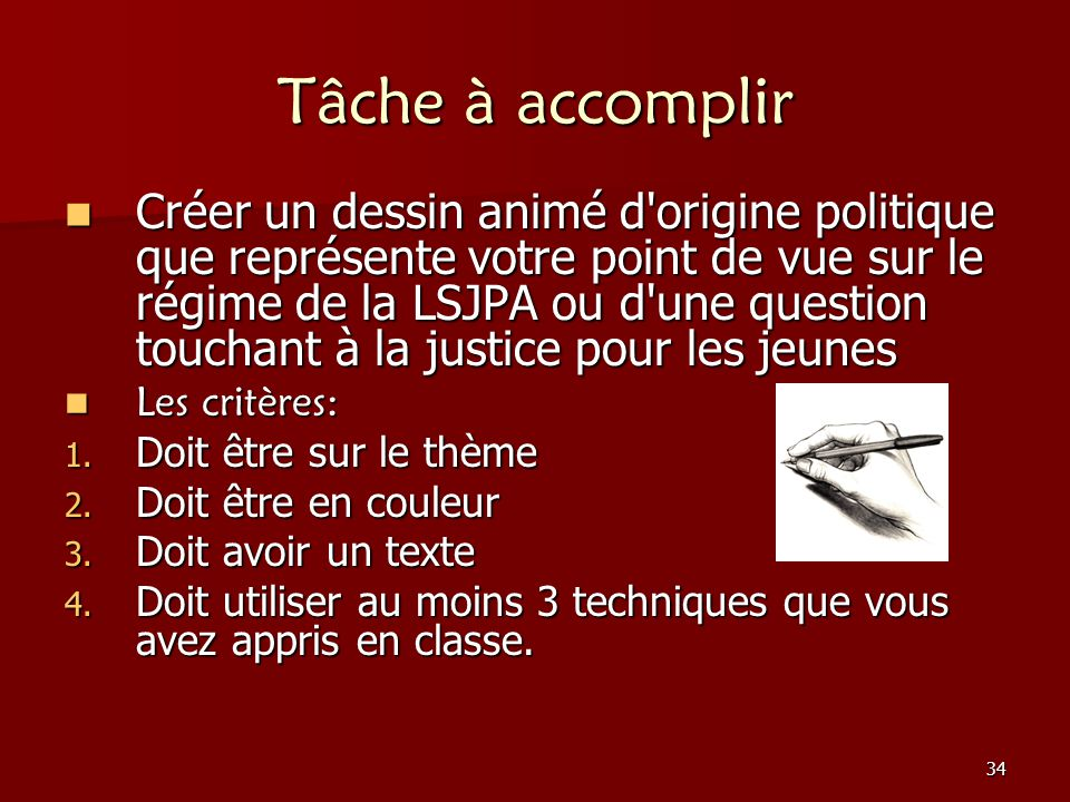 Tâche à accomplir